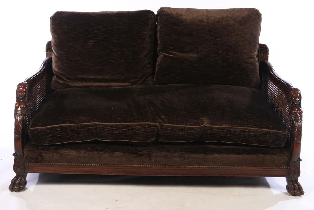 FIGURAL CARVED WALNUT SETTEE 1910 - 2