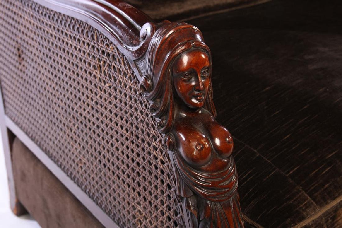 FIGURAL CARVED WALNUT SETTEE 1910 - 4