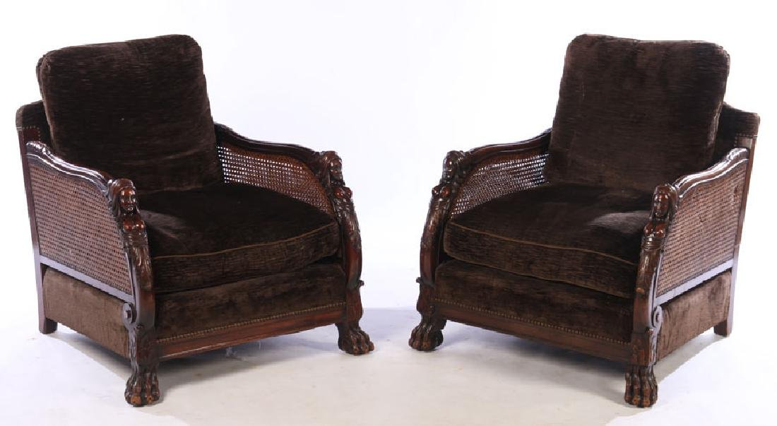 PAIR CARVED WALNUT CLUB CHAIRS 1910