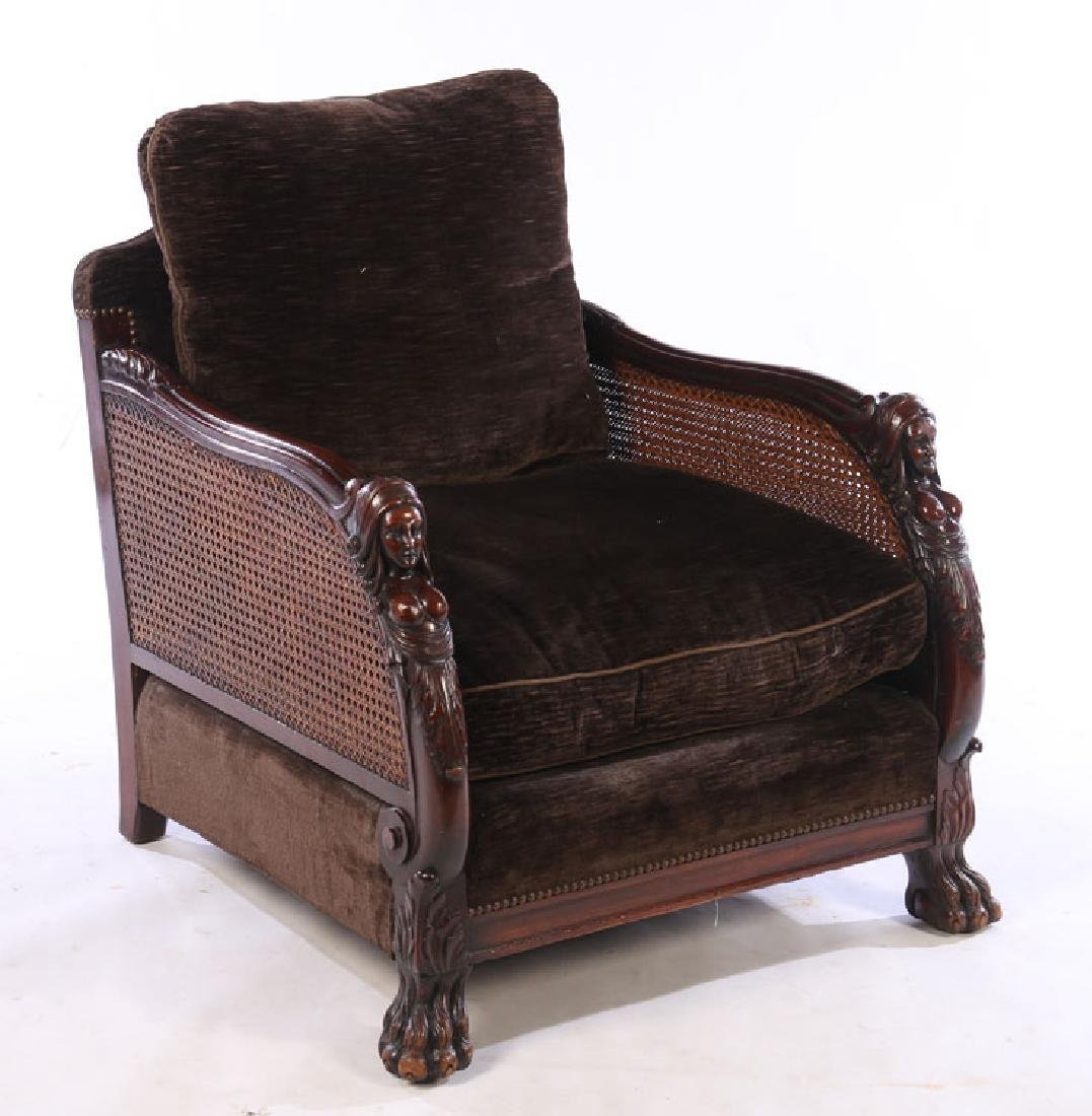 PAIR CARVED WALNUT CLUB CHAIRS 1910 - 2