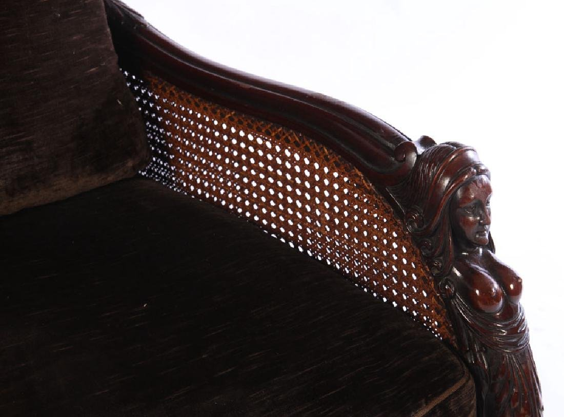PAIR CARVED WALNUT CLUB CHAIRS 1910 - 4