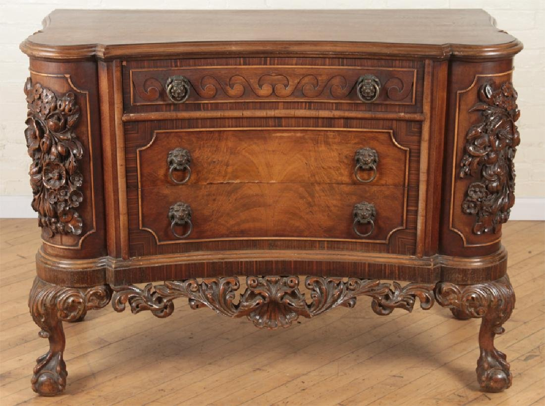 CARVED WALNUT COMMODE SERPENTINE FRONT