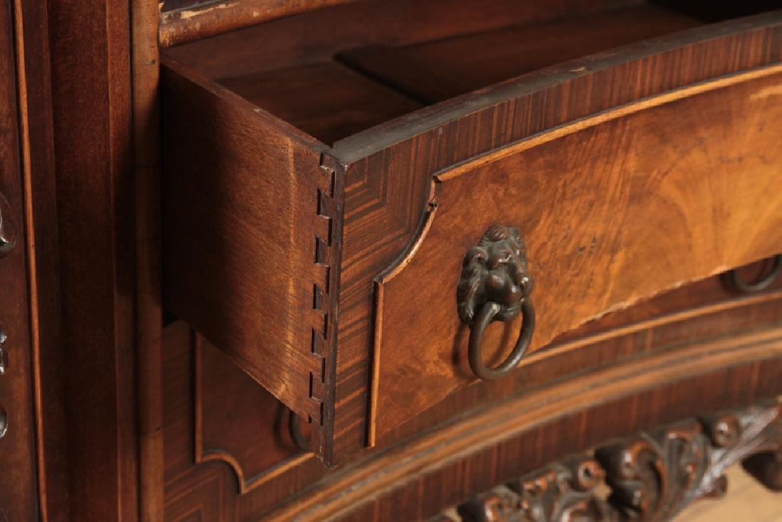 CARVED WALNUT COMMODE SERPENTINE FRONT - 4