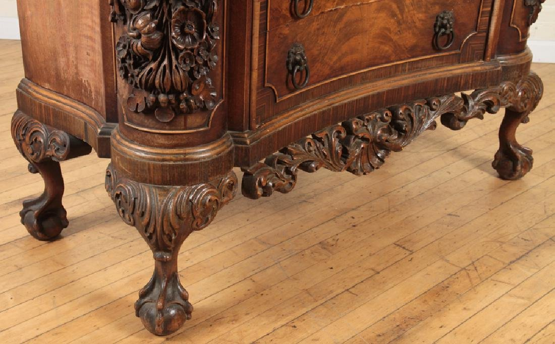 CARVED WALNUT COMMODE SERPENTINE FRONT - 6