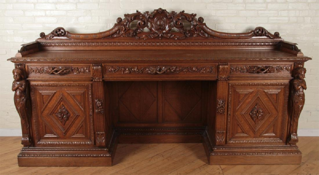 MONUMENTAL CARVED OAK SIDEBOARD CIRCA 1890