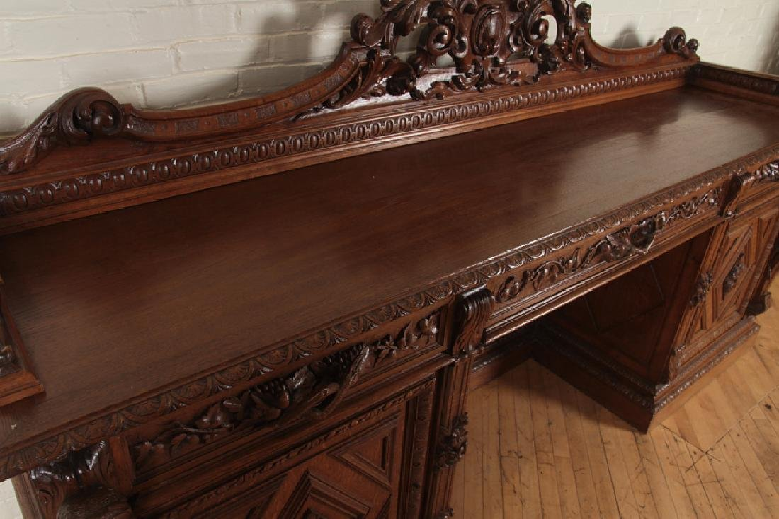 MONUMENTAL CARVED OAK SIDEBOARD CIRCA 1890 - 3
