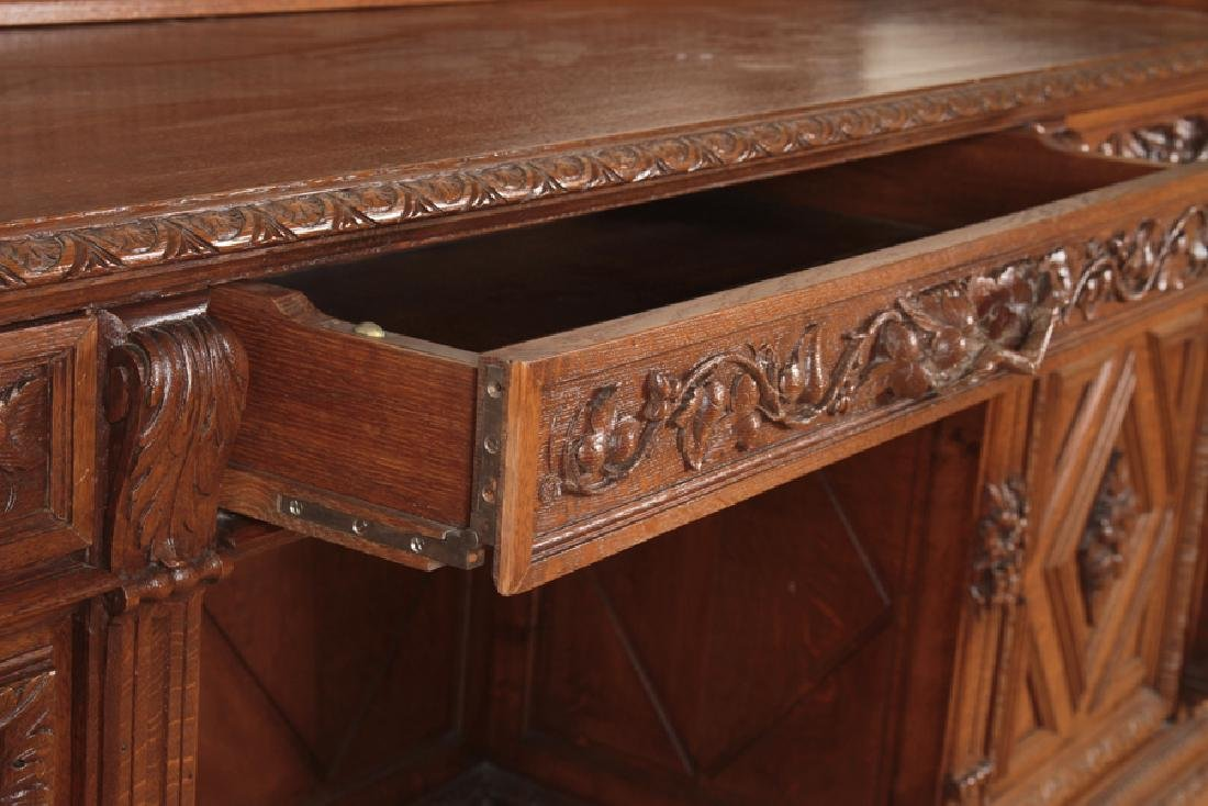 MONUMENTAL CARVED OAK SIDEBOARD CIRCA 1890 - 4
