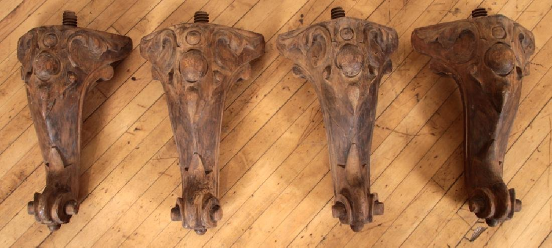 SET 4 ANTIQUE CARVED WALNUT PIANO LEGS C. 1890
