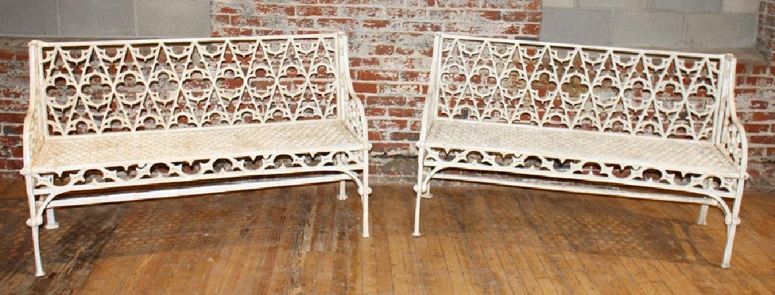 PAIR GOTHIC STYLE CAST IRON BENCHES