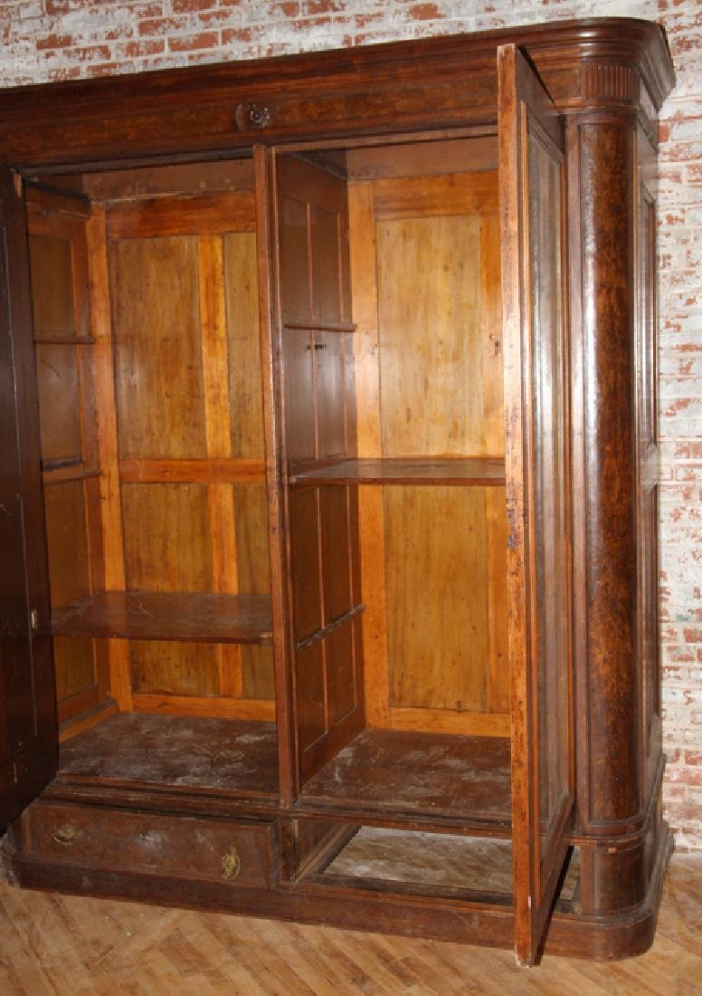 LARGE AMERICAN VICTORIAN WALNUT ARMOIRE C. 1870 - 3