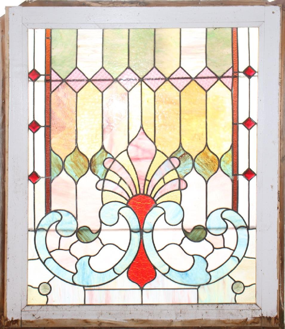 STAINED GLASS WINDOW IN PAINTED WOOD FRAME