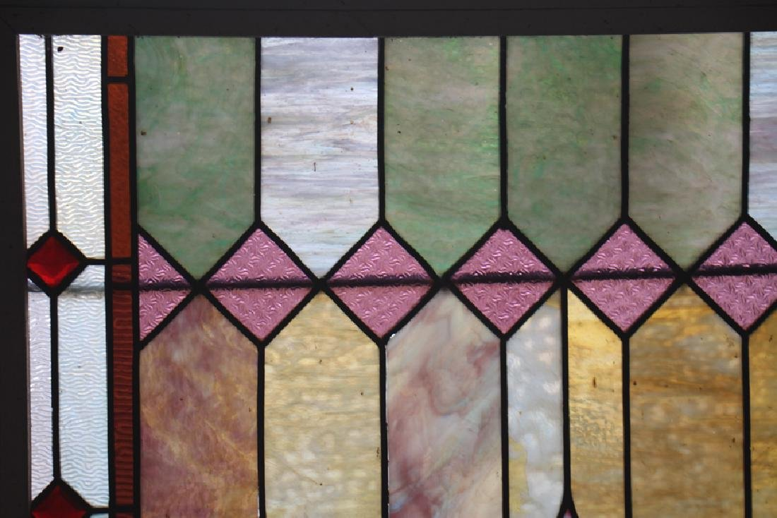 STAINED GLASS WINDOW IN PAINTED WOOD FRAME - 2