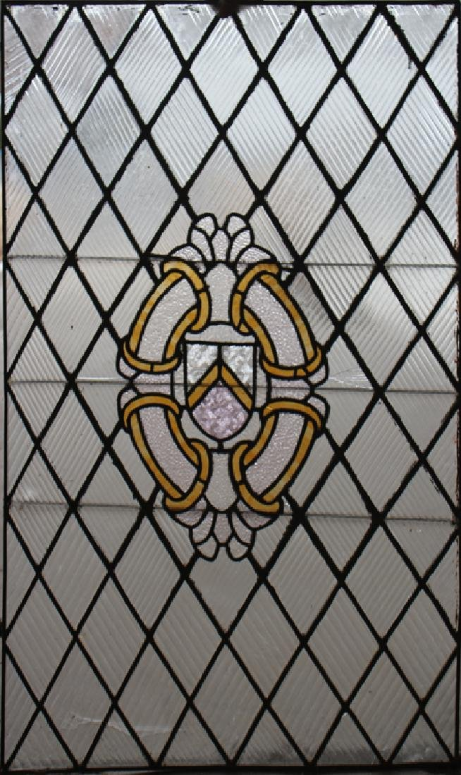 STAINED GLASS PANEL LEADED X-FORM DESIGN C.1920