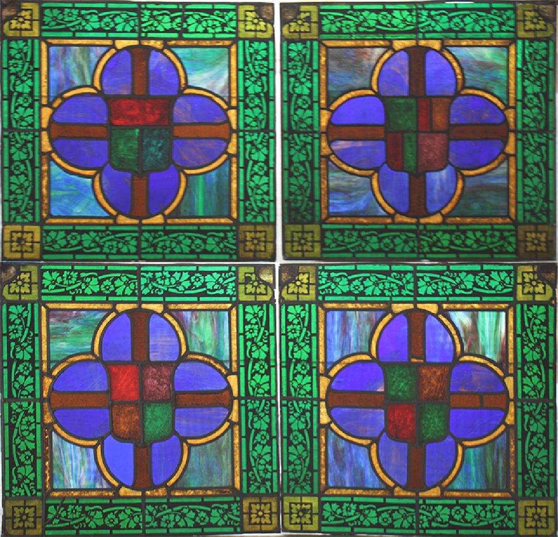 SET 4 STAINED GLASS PANELS CIRCA 1900