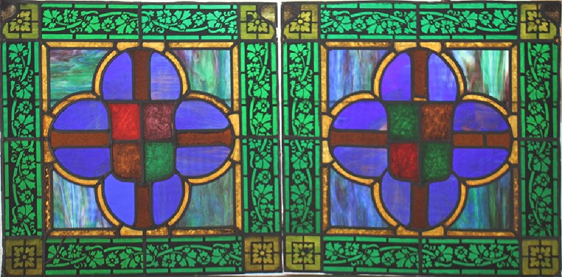 SET 4 STAINED GLASS PANELS CIRCA 1900 - 2