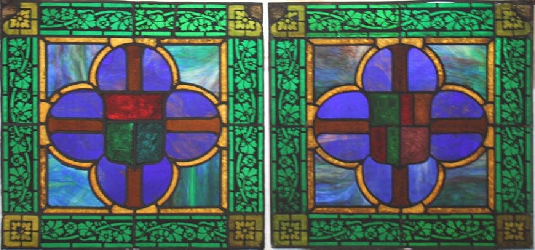 SET 4 STAINED GLASS PANELS CIRCA 1900 - 3