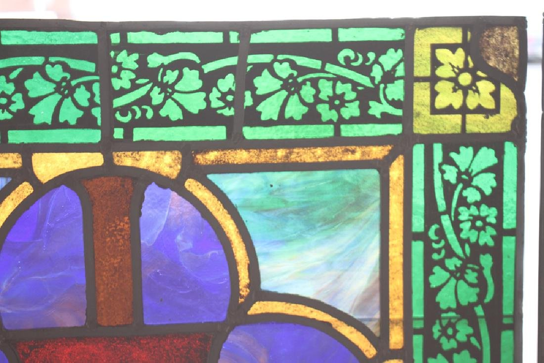 SET 4 STAINED GLASS PANELS CIRCA 1900 - 4