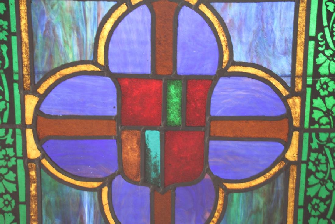 SET 4 STAINED GLASS PANELS CIRCA 1900 - 5