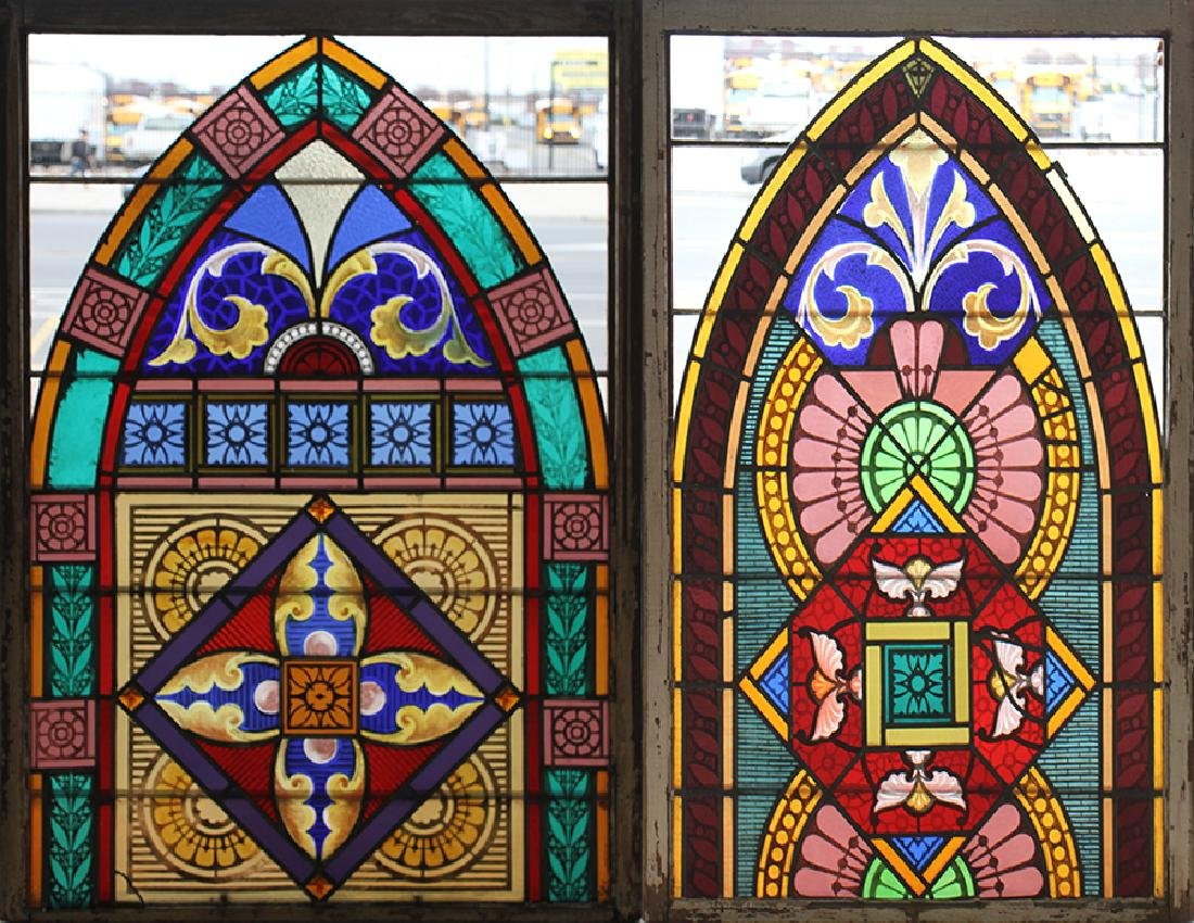 PAIR LEADED PAINTED STAINED GLASS PANELS C.1910