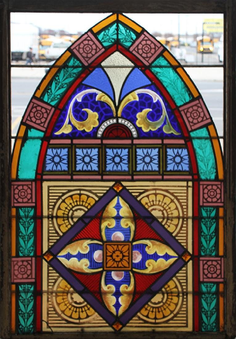 PAIR LEADED PAINTED STAINED GLASS PANELS C.1910 - 2