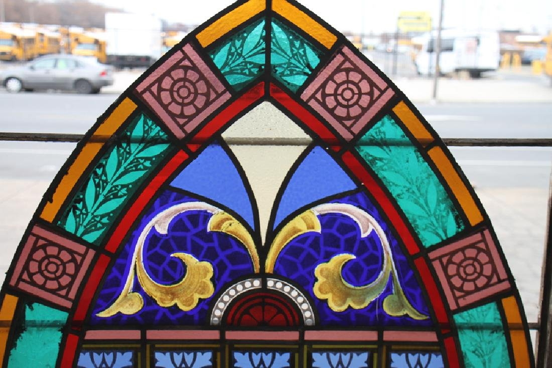 PAIR LEADED PAINTED STAINED GLASS PANELS C.1910 - 3