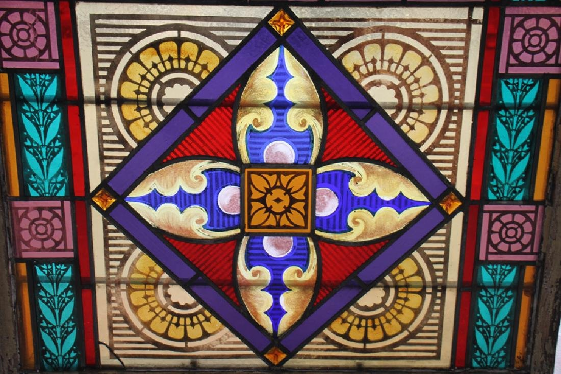 PAIR LEADED PAINTED STAINED GLASS PANELS C.1910 - 4