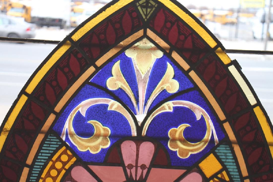 PAIR LEADED PAINTED STAINED GLASS PANELS C.1910 - 6