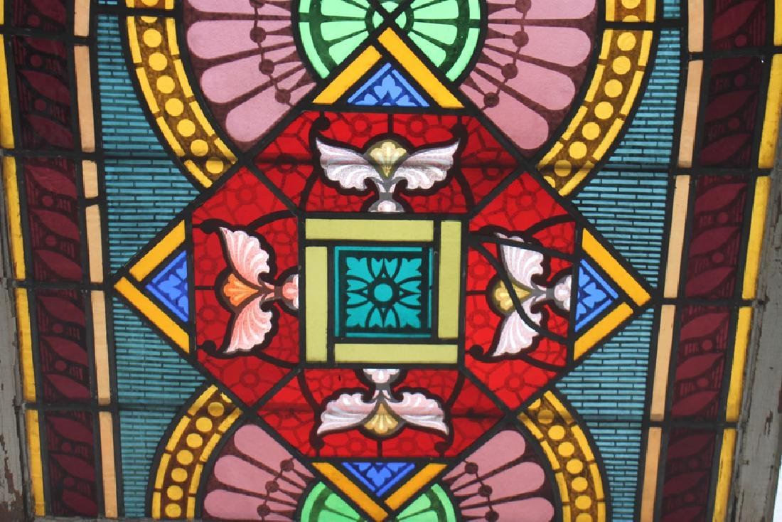 PAIR LEADED PAINTED STAINED GLASS PANELS C.1910 - 7
