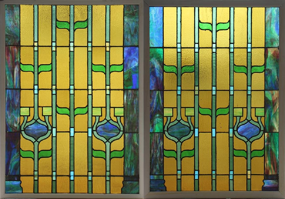 PAIR LEADED STAINED GLASS PANELS CIRCA 1930