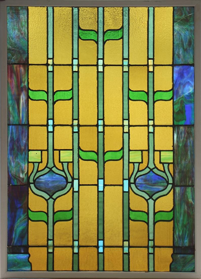 PAIR LEADED STAINED GLASS PANELS CIRCA 1930 - 2