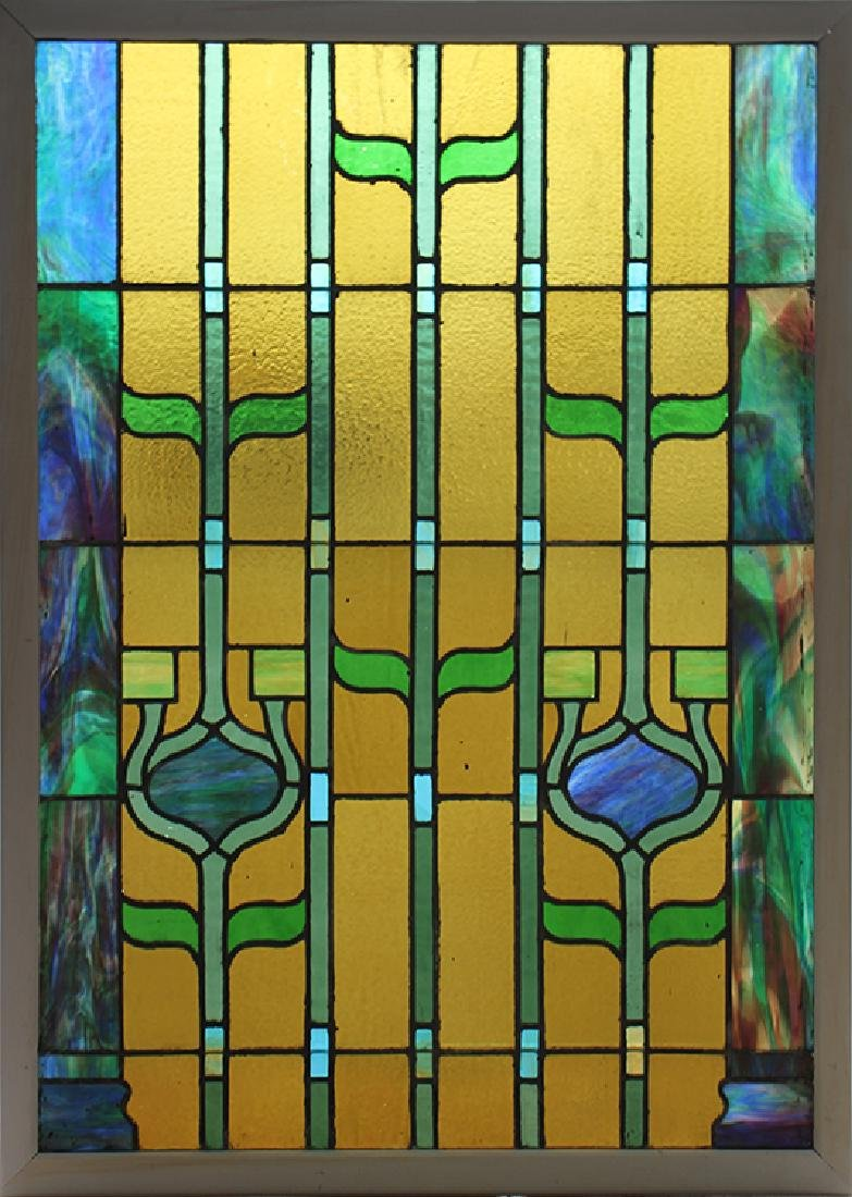 PAIR LEADED STAINED GLASS PANELS CIRCA 1930 - 3