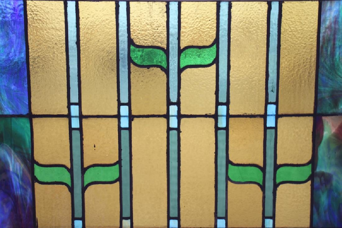 PAIR LEADED STAINED GLASS PANELS CIRCA 1930 - 4