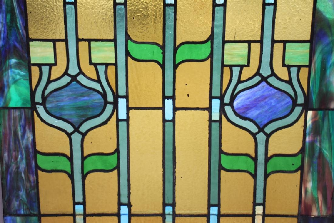 PAIR LEADED STAINED GLASS PANELS CIRCA 1930 - 5