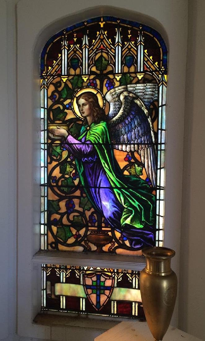 2 PC. LEADED STAINED GLASS WINDOW CIRCA 1890