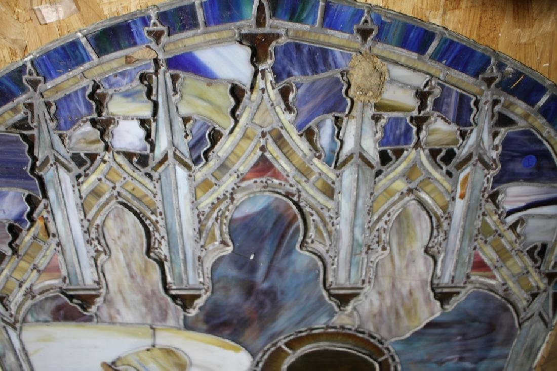 2 PC. LEADED STAINED GLASS WINDOW CIRCA 1890 - 2