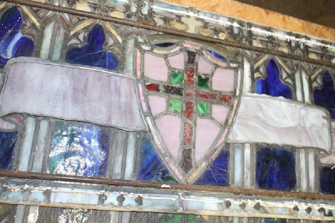 2 PC. LEADED STAINED GLASS WINDOW CIRCA 1890 - 4