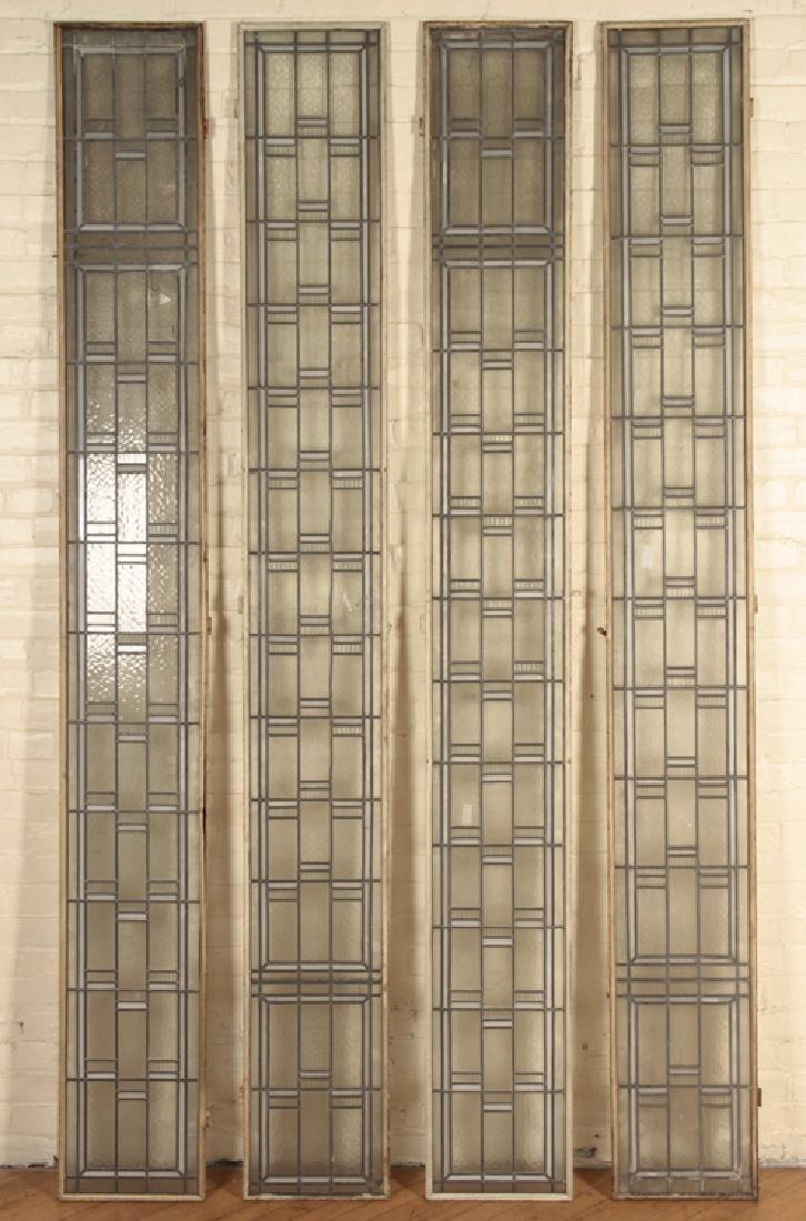 SET 4 LEADED GLASS WINDOWS IN IRON FRAMES
