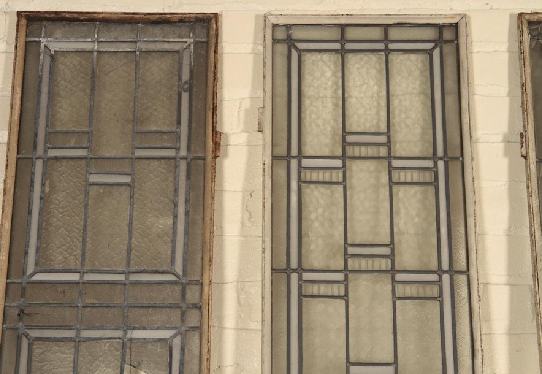 SET 4 LEADED GLASS WINDOWS IN IRON FRAMES - 2