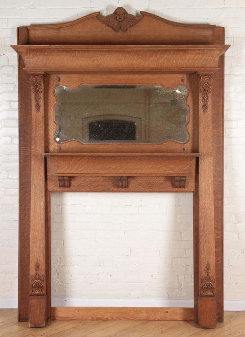 CARVED OAK AMERICAN VICTORIAN FIREPLACE MANTLE