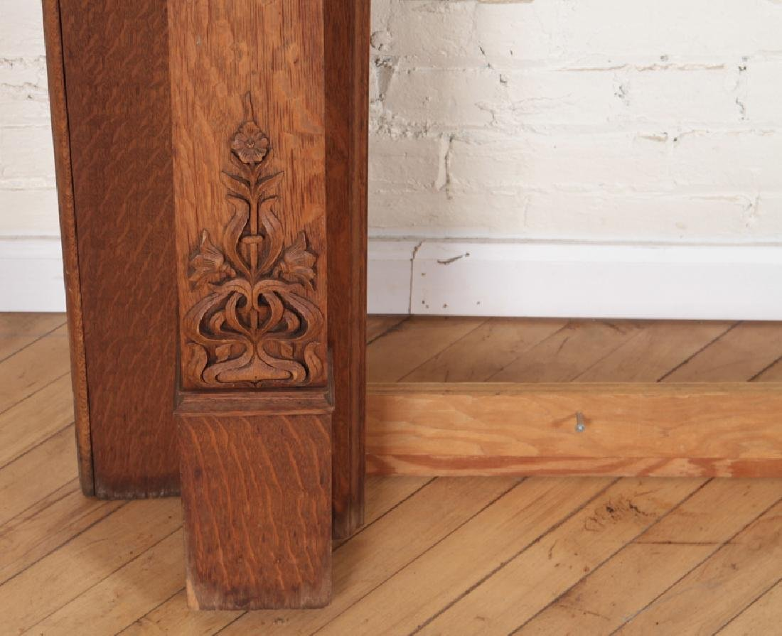 CARVED OAK AMERICAN VICTORIAN FIREPLACE MANTLE - 2