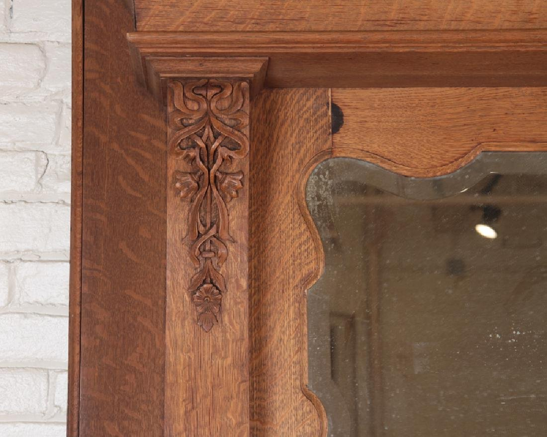 CARVED OAK AMERICAN VICTORIAN FIREPLACE MANTLE - 4