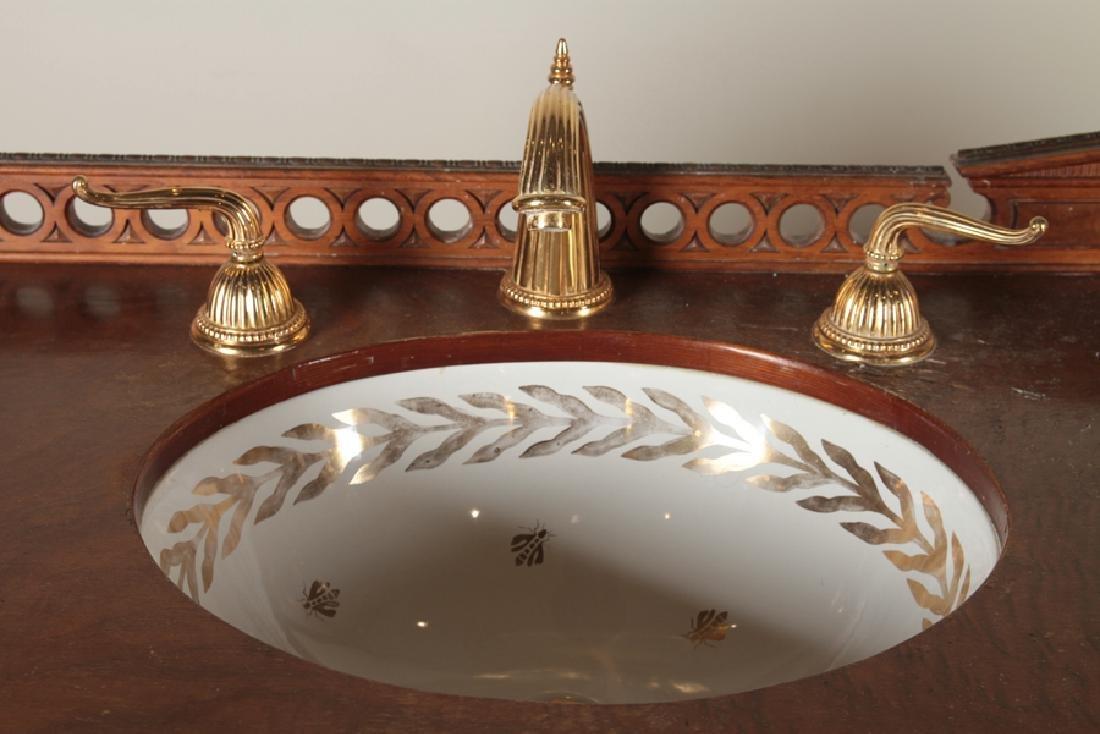 GRAND WALNUT BATHROOM VANITY GOLD GILT HARDWARE - 3