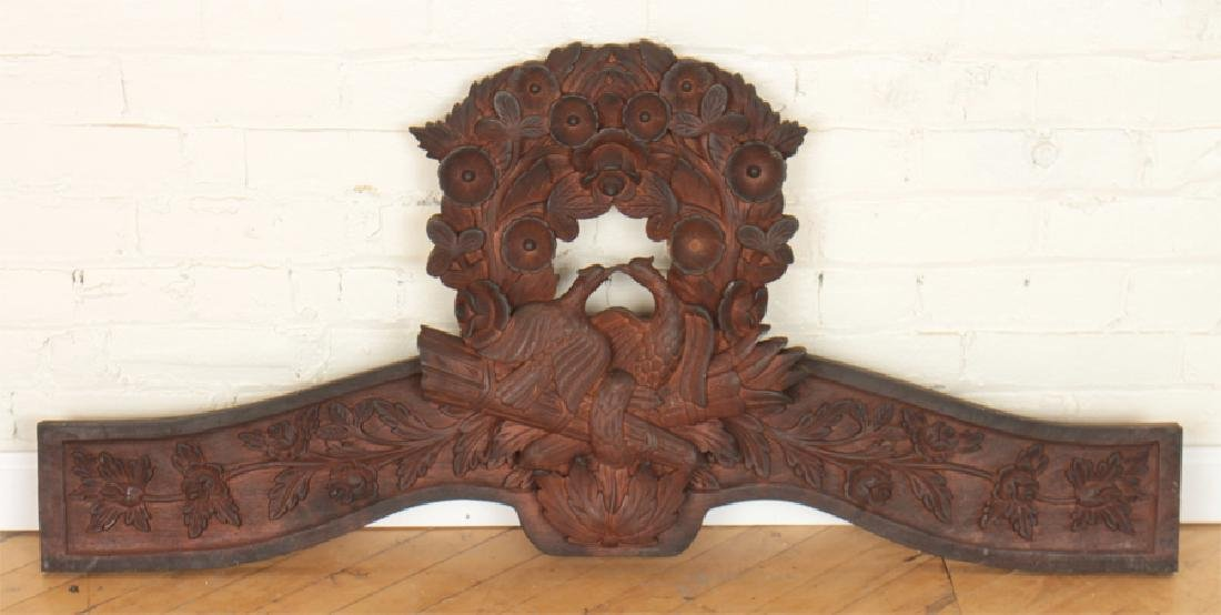 MAHOGANY CARVED PEDIMENT BIRDS AND WREATH DESIGN