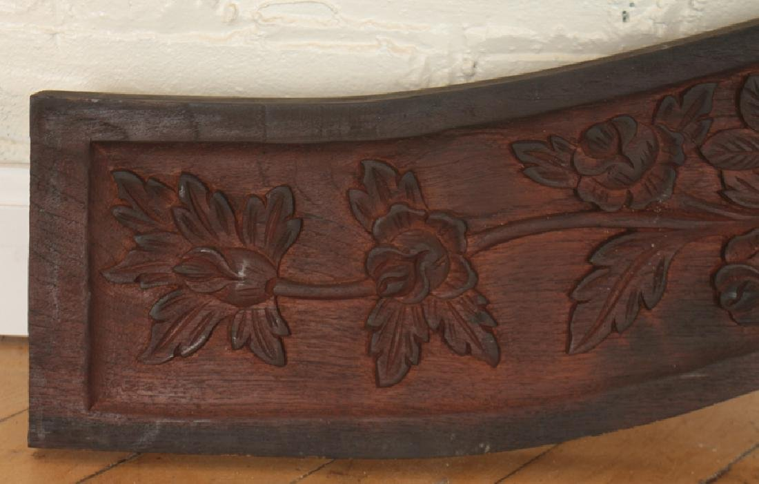 MAHOGANY CARVED PEDIMENT BIRDS AND WREATH DESIGN - 4