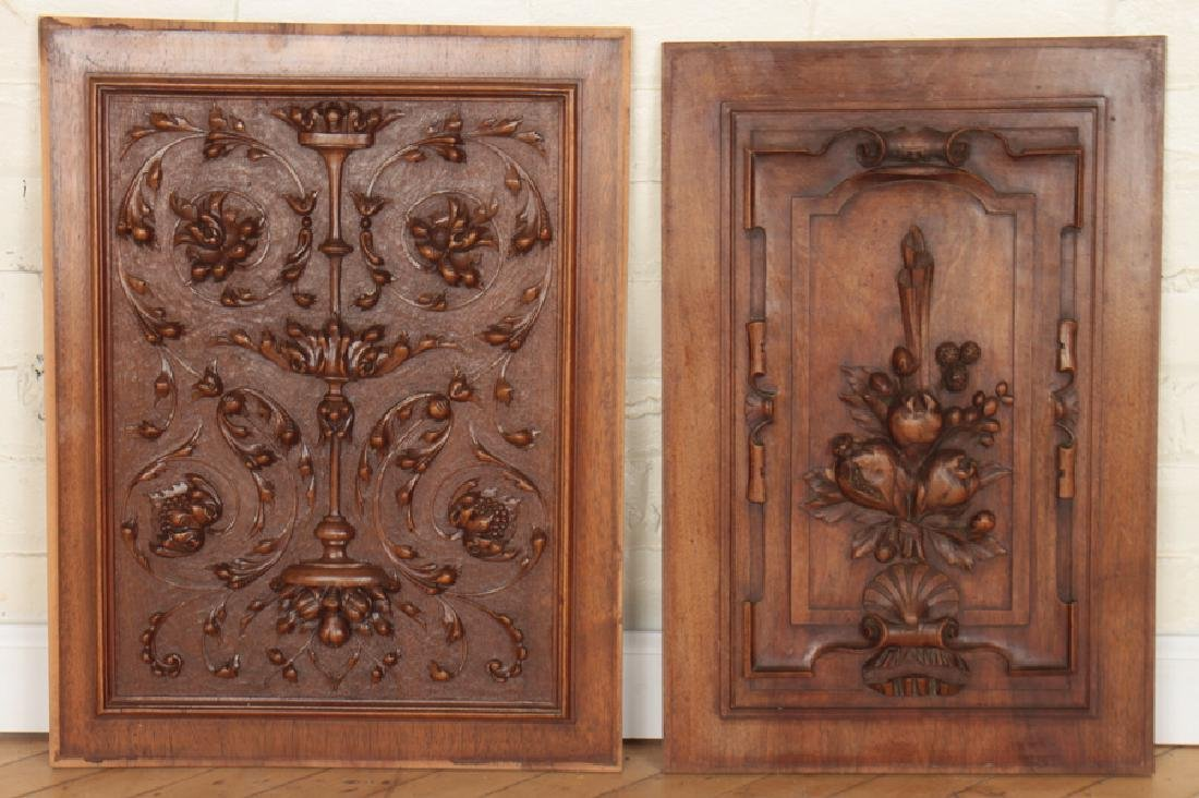 2 INTRICATELY CARVED VICTORIAN WOOD PLAQUES C1880