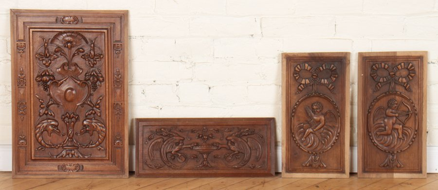 4 CARVED WALNUT VICTORIAN PLAQUES C.1880
