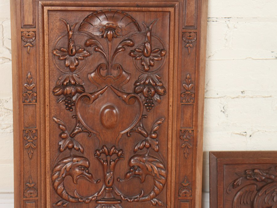 4 CARVED WALNUT VICTORIAN PLAQUES C.1880 - 2