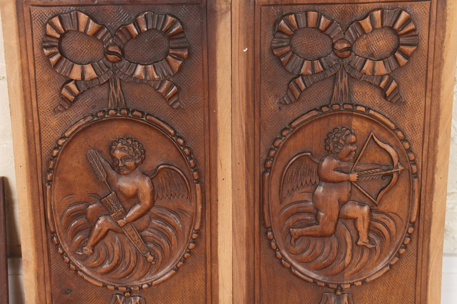 4 CARVED WALNUT VICTORIAN PLAQUES C.1880 - 4