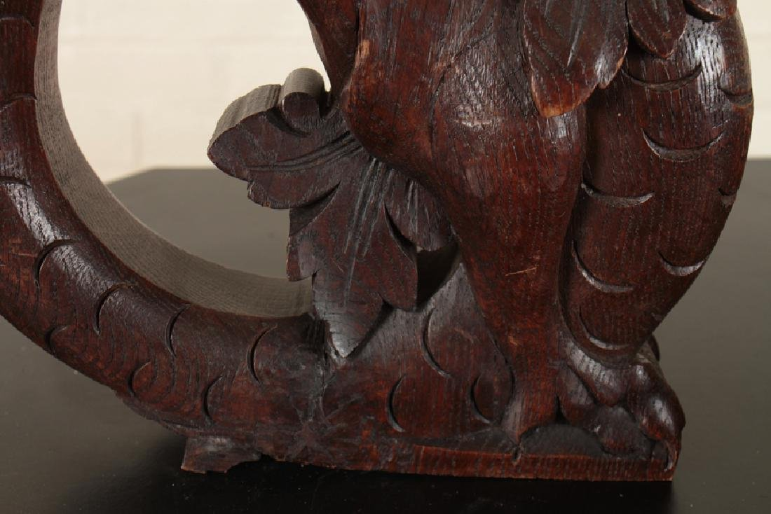 PAIR OF OAK GRIFFIN FORMED SUPPORTS CIRCA 1890 - 4