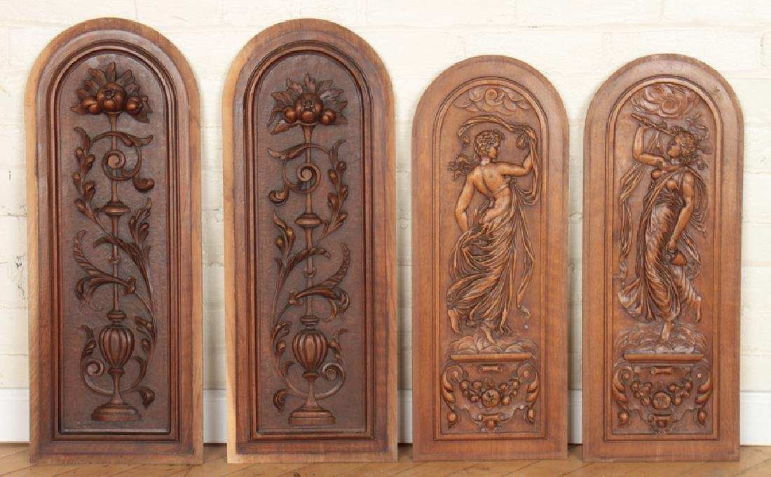 4 ARCH TOPPED CARVED VICTORIAN WALNUT PLAQUES